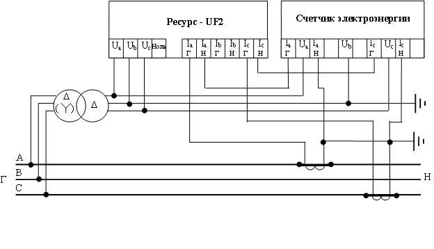 Схема совместного подключения прибора и счетчика электроэнергии.